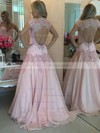 High Neck Chiffon Tulle Floor-length Pearl Detailing Short Sleeve Prom Dresses #PDS020102398
