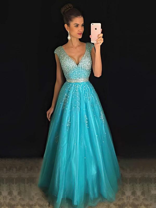 Different Princess V-neck Tulle Beading Backless Prom Dresses #PDS020102401