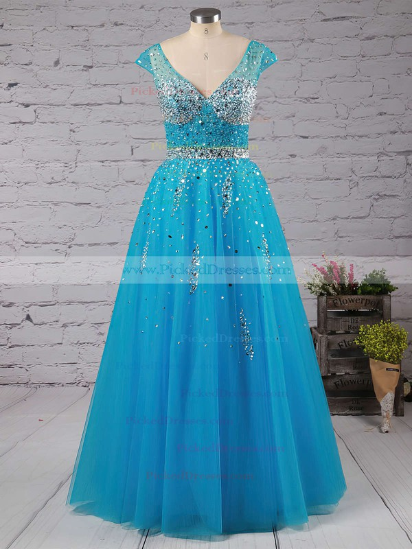Different Princess V-neck Tulle Beading Backless Prom Dresses #PDS020102401