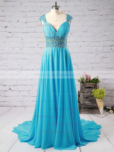 Watermelon V-neck Chiffon Sweep Train Beading Backless Prom Dresses #PDS020102404