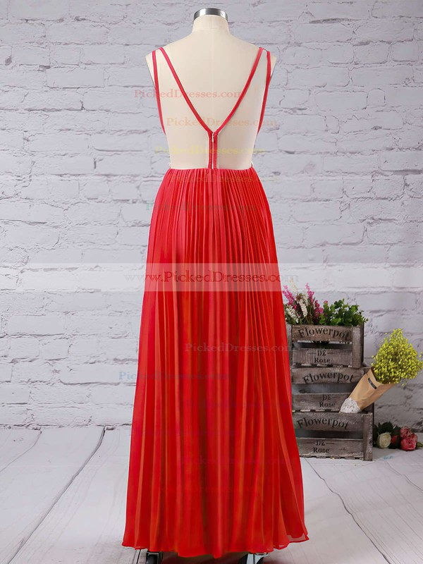 A-line V-neck Chiffon Tulle Floor-length Affordable Prom Dresses #PDS020102420
