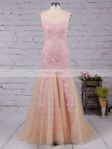 Trumpet/Mermaid Tulle Floor-length Appliques Lace V-neck Modest Prom Dresses #PDS020102421