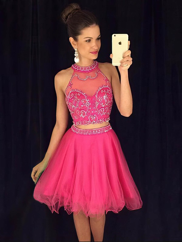 Two Piece A-line Tulle Short/Mini with Beading High Neck Prom Dresses #PDS020102424