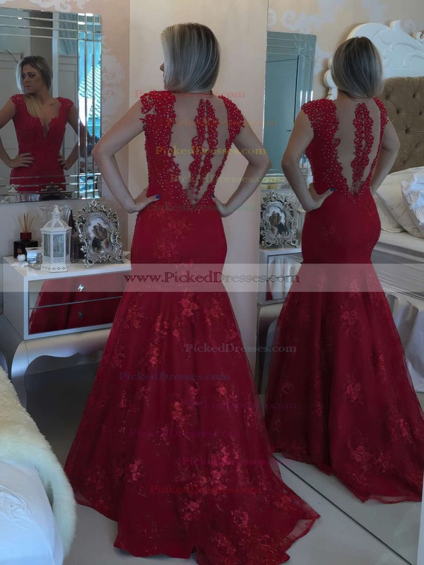 Burgundy Trumpet/Mermaid V-neck Lace Tulle Sweep Train Pearl Detailing Prom Dresses #PDS020102425