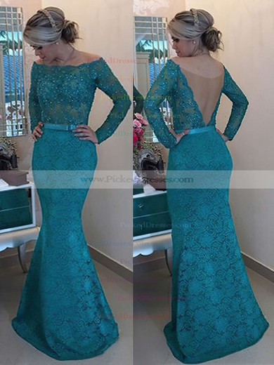 Trumpet/Mermaid Off-the-shoulder Lace Tulle Floor-length Long Sleeve Prom Dresses #PDS020102429