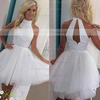 A-line High Neck Tulle Short/Mini Prom Dresses #PDS020102515