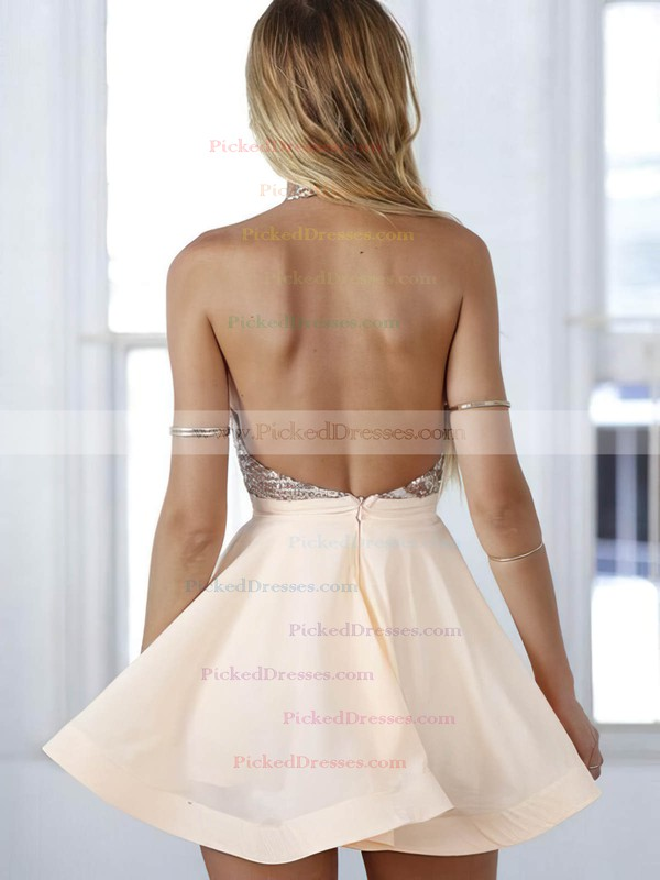 Backless A-line Halter Chiffon Short/Mini Sequins Summer Prom Dresses #PDS020102557