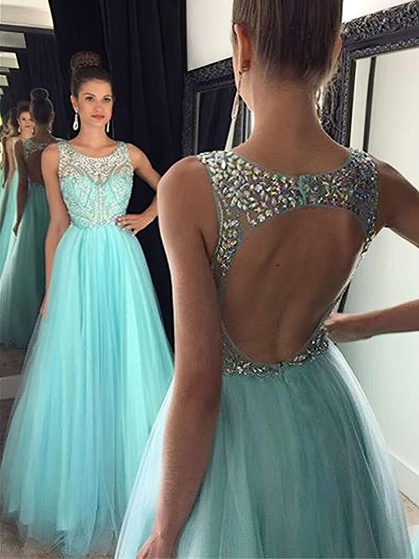 Stunning Scoop Neck Tulle Beading Floor-length Open Back Princess Prom Dresses #PDS020102437