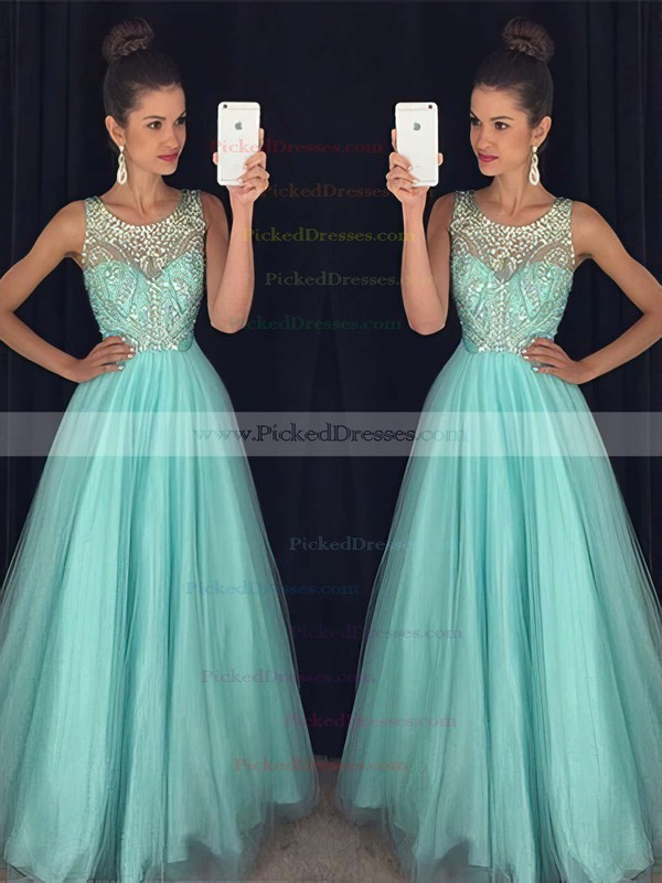 Stunning Scoop Neck Tulle Beading Floor-length Open Back Princess Prom Dresses #PDS020102437