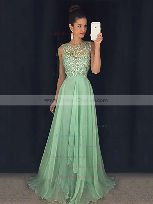 Open Back A-line Sweep Train Tulle Chiffon with Beading Best Prom Dresses #PDS020102439