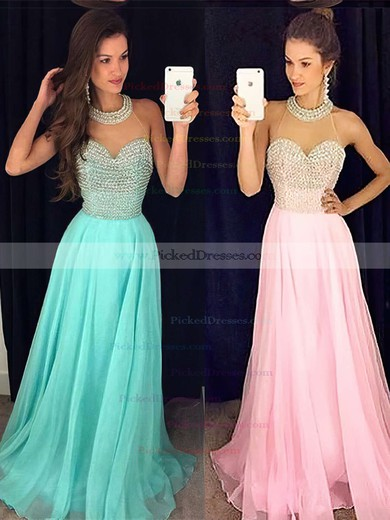 Unique Scoop Neck A-line Chiffon Tulle Sweep Train Pearl Detailing Prom Dresses #PDS020102441