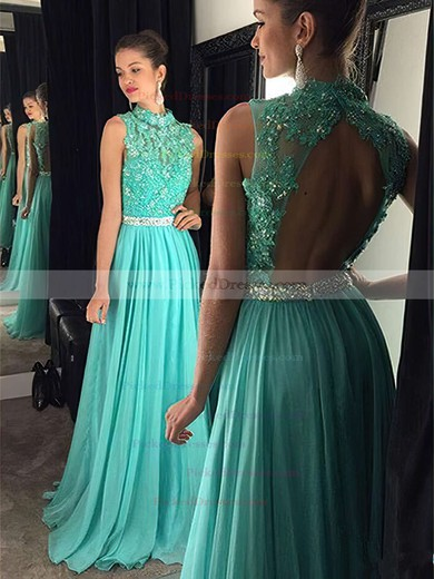 High Neck Open Back Tulle Chiffon Floor-length Beading Popular Prom Dress #PDS020102443