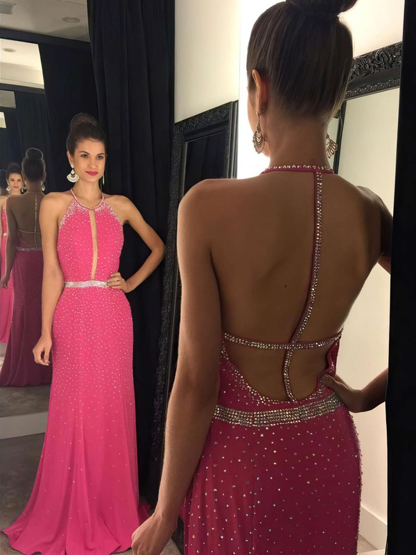 Sexy Scoop Neck Sheath/Column Chiffon Sweep Train Beading Backless Prom Dresses #PDS020102444
