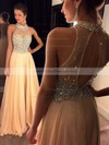 Sweep Train A-line Chiffon Tulle with Beading Top High Neck Prom Dresses #PDS020102445