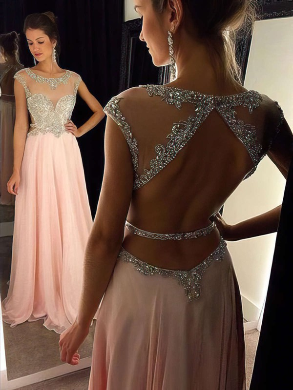Stunning Open Back A-line Scoop Neck Chiffon Tulle with Beading Pink Prom Dresses #PDS020102446