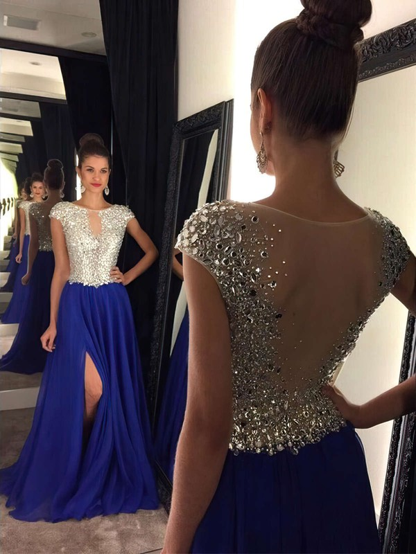 A-line Scoop Neck Royal Blue Chiffon Tulle Sweep Train Split Front Classy Prom Dress #PDS020102447