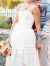 Sweetheart High Low Ivory Lace Taffeta Tiered Asymmetrical Wedding Dresses #PDS00020544
