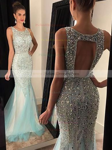 Trumpet/Mermaid Scoop Neck Tulle Crystal Detailing Open Back Long Prom Dresses #PDS020102448