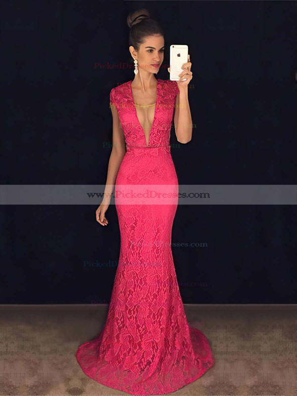 V-neck Lace Tulle with Pearl Detailing Sweep Train Trumpet/Mermaid Promotion Prom Dresses #PDS020102449
