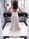 Backless A-line V-neck Lace Court Train Spaghetti Straps Exclusive Prom Dresses #PDS020102459