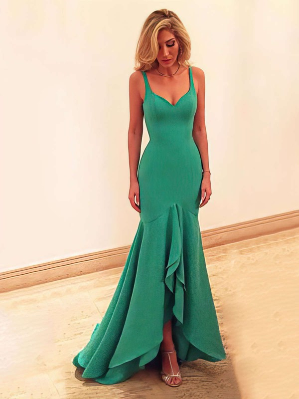 Asymmetrical Trumpet/Mermaid V-neck Tiered Jersey Newest Prom Dresses #PDS020102466