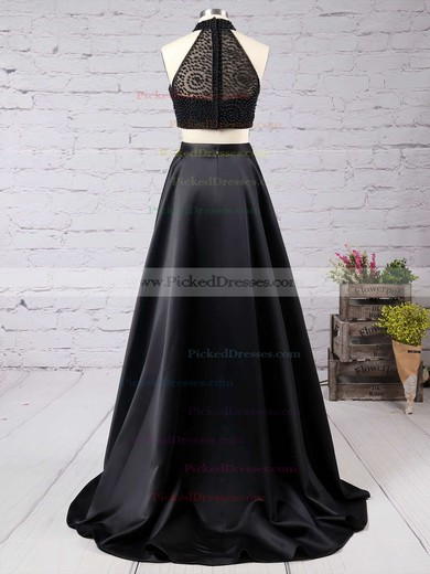 High Neck A-line Black Satin Tulle Sweep Train Split Front Unique Two Piece Prom Dress #PDS020102482