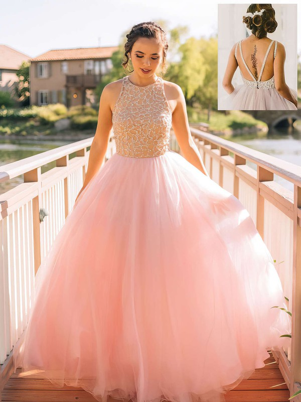 Scoop Neck Pink Tulle Floor-length with Beading Princess Prom Dresses #PDS020102483