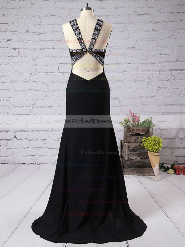 Discounted Sheath/Column Black V-neck Chiffon Sweep Train Beading Backless Prom Dresses #PDS020102488