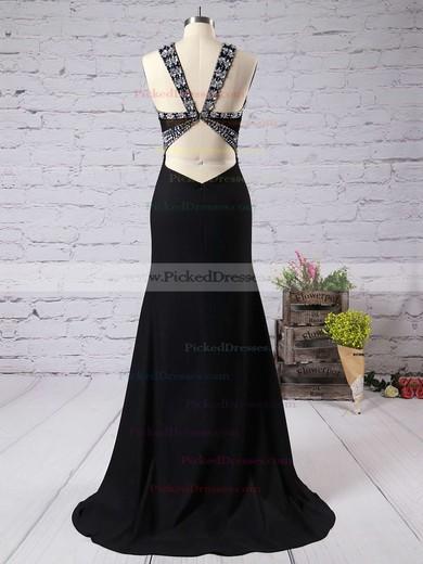 Discounted Sheath/Column Black V-neck Chiffon Sweep Train Beading Backless Prom Dresses #PDS020102488