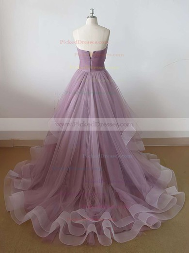 Princess Sweep Train Sweetheart Ruffles Tulle Affordable Prom Dresses #PDS020102507