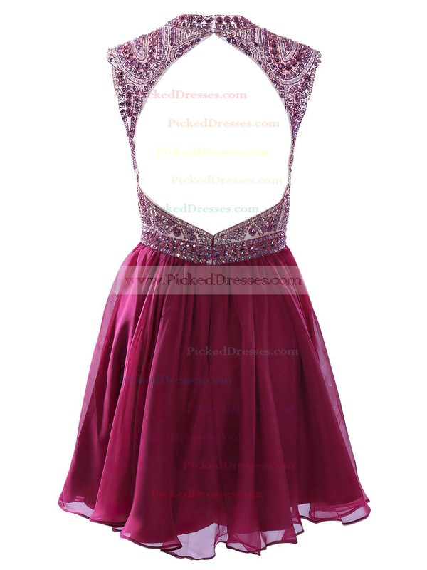 High Neck A-line Chiffon Short/Mini Crystal Detailing Junior Prom Dresses #PDS020102575