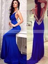 Sheath/Column Jersey Sweep Train Crystal Detailing Cowl Neck Backless Prom Dresses #PDS020102593