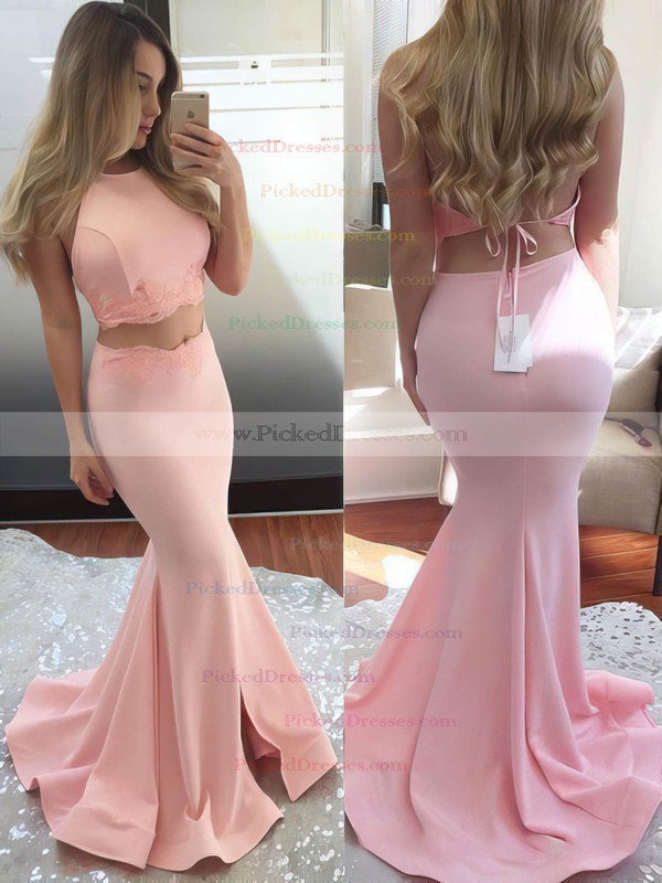 Two Piece Trumpet/Mermaid Sweep Train Appliques Lace Halter Prom Dress #PDS020102607