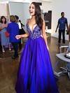 Amazing A-line V-neck Satin Sweep Train with Beading Royal Blue Prom Dresses #PDS020102608
