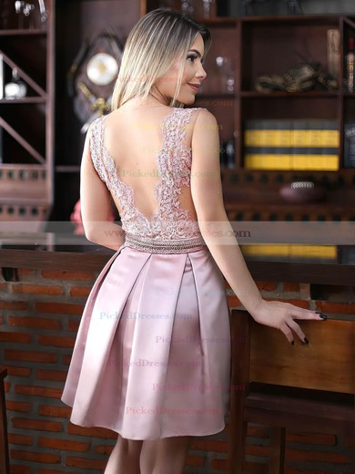 Fashion A-line Scoop Neck Satin Tulle Appliques Lace Short/Mini Prom Dresses #PDS020102671