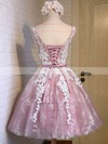 Knee-length A-line Scoop Neck Tulle Appliques Lace Sweet Prom Dresses #PDS020102736