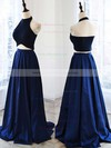 Two Piece A-line Satin Floor-length Ruffles Halter New Arrival Prom Dresses #PDS020102737