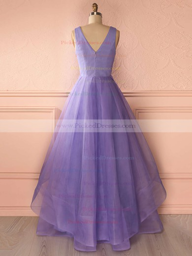 Princess V-neck Tiered Organza Floor-length Affordable Prom Dresses #PDS020102740