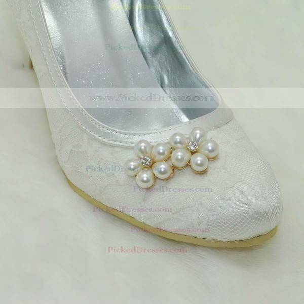 Women's Lace with Crystal Pearl Stiletto Heel Pumps Closed Toe