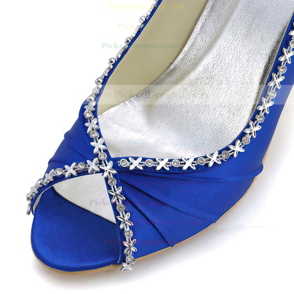 Women's Satin with Crystal Cone Heel Pumps Peep Toe