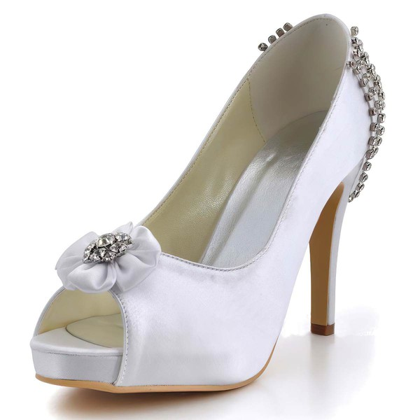 Women's Satin with Flower Crystal Stiletto Heel Pumps Peep Toe Platform