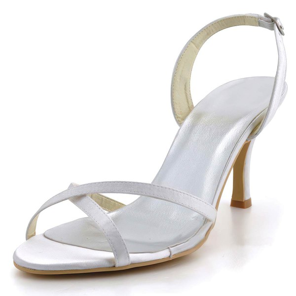 Women's Satin with Buckle Stiletto Heel Pumps Sandals