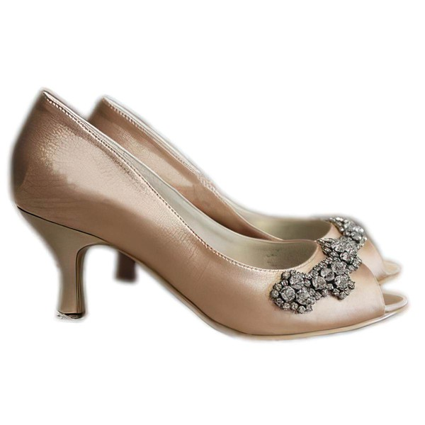 Women's Satin with Crystal Stiletto Heel Pumps Peep Toe