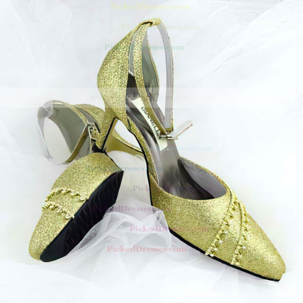 Women's Sparkling Glitter with Buckle Crystal Stiletto Heel Closed Toe Pumps