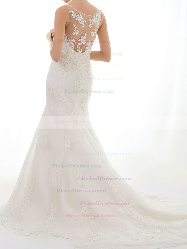 Trumpet/Mermaid Ivory Lace Tulle Appliques Lace Gorgeous Scoop Neck Wedding Dresses #PDS00020547
