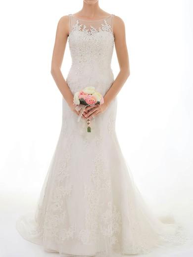 Trumpet/Mermaid Ivory Lace Tulle Appliques Lace Gorgeous Scoop Neck Wedding Dresses #PDS00020547