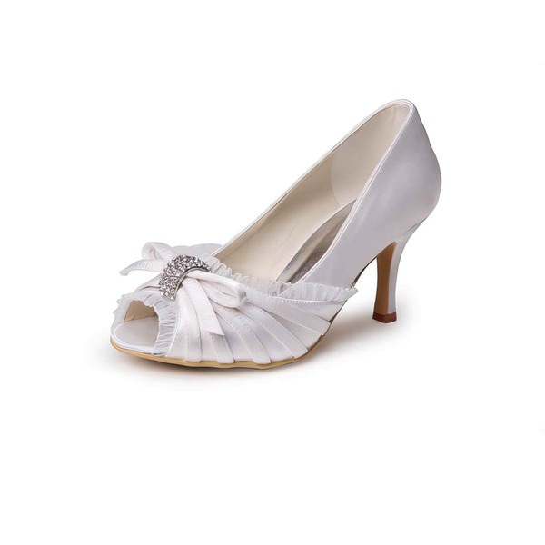 Women's Satin with Crystal Stiletto Heel Peep Toe Pumps