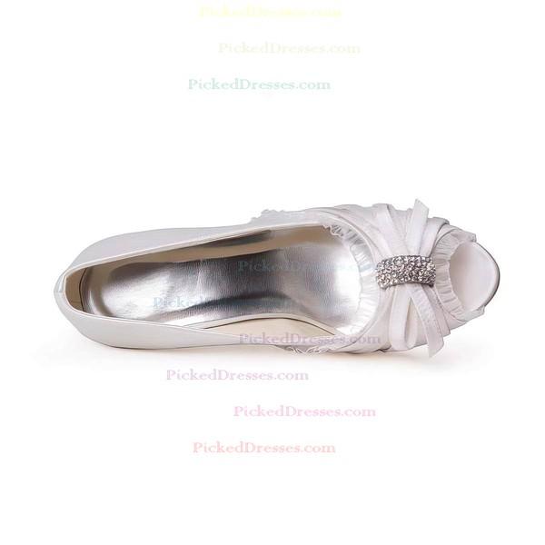 Women's Satin with Crystal Stiletto Heel Peep Toe Pumps