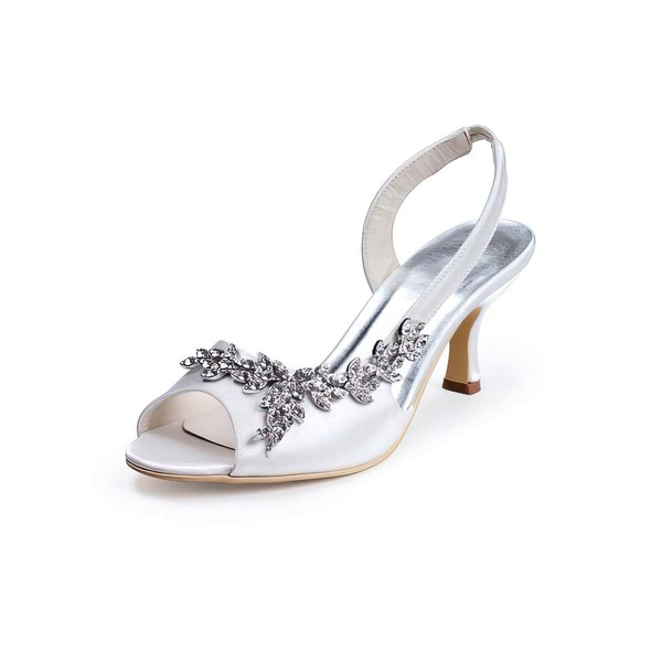 Women's Satin with Crystal Cone Heel Sandals Pumps
