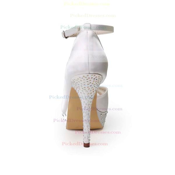 Women's Satin with Buckle Beading Stiletto Heel Pumps Peep Toe Platform